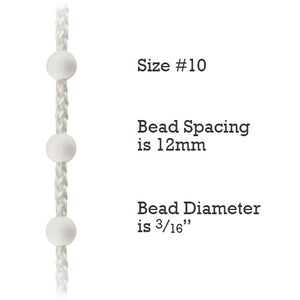Size #10 Plastic Bead Chain for Roller Shades & Vertical Blinds - 12mm Spacing