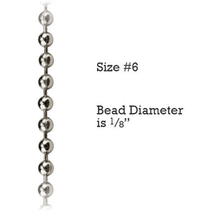Size #6 Nickel-plated Steel Metal Control Chain for Vertical Blinds