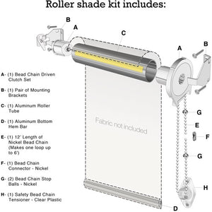 "5 ft Wide Roller Shade Kit - 1 1/2"" Tube"