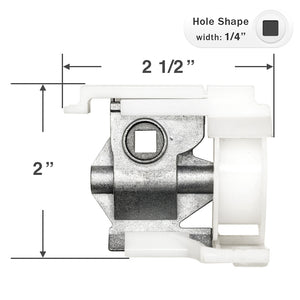"Cord Tilt Mechanism for High Profile Head Rails with a 1/4"" Square Hole - Small Foot - NO CORD"