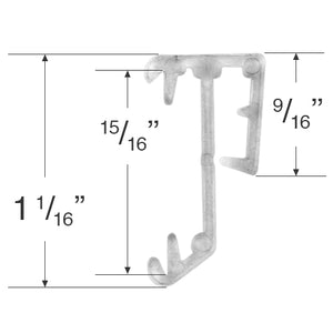 "1"" Hidden Valance Clip for Wood and Faux Wood Valances - Clear"