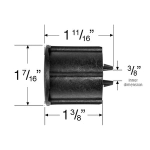 Roller Shade End Plug for Cassette 1 1/2 Tubes - Black