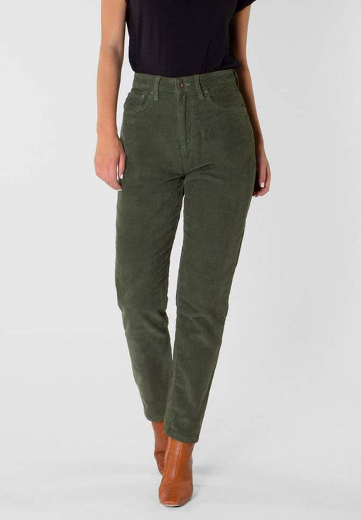 hose nora loose tapered corduroy leaf green
