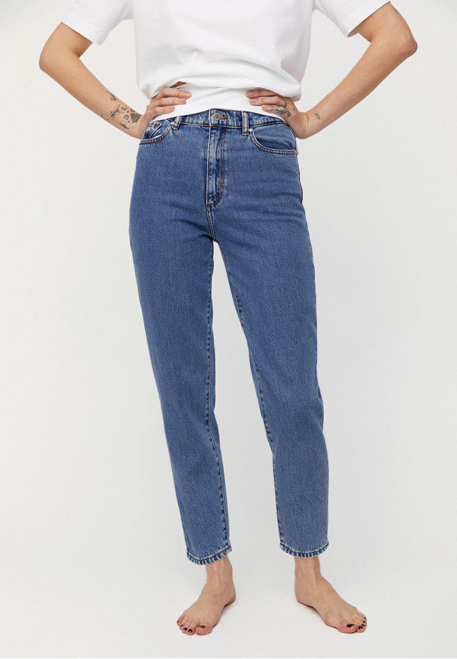 jeans mairaa mom fit mid blue