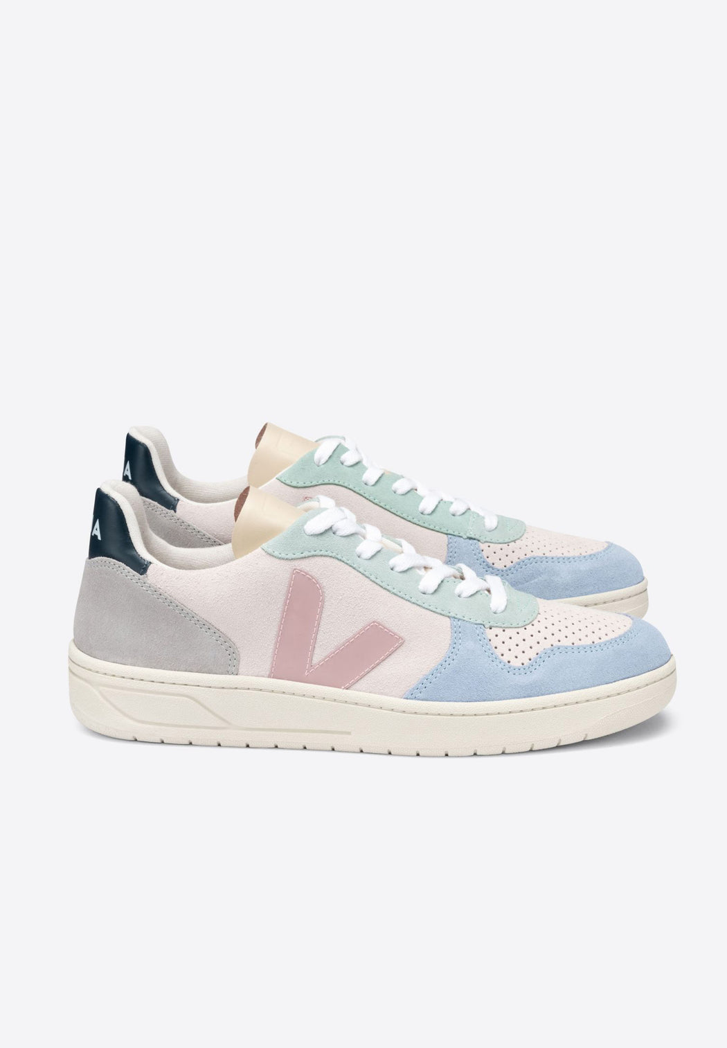 sneaker V-10 suede multico natural babe