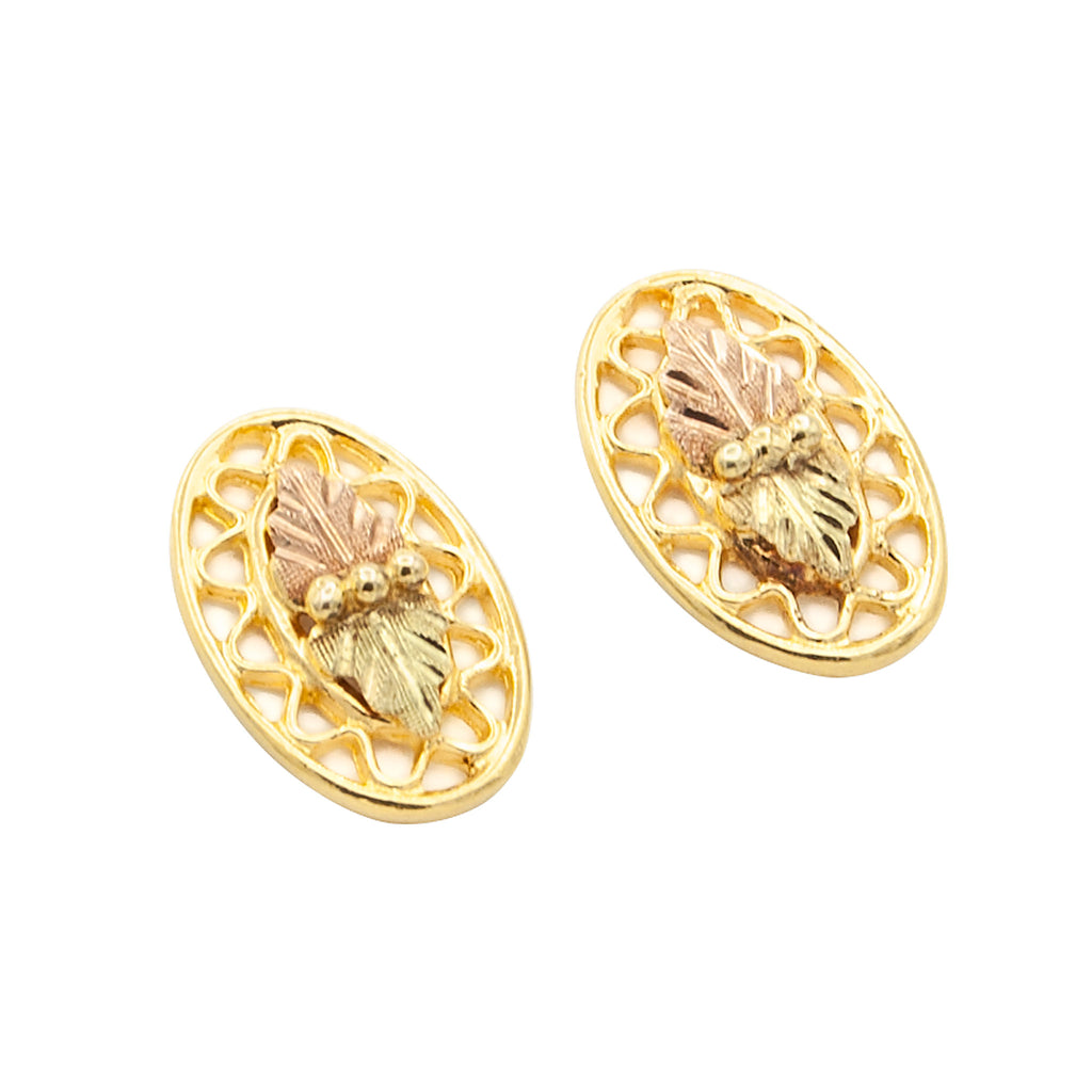 12 Karat Black Hills Gold Stud Earrings with Double Leaf Tri-color Gold Pattern