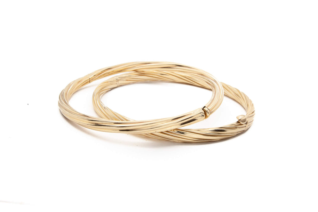 14 Karat Yellow Gold Twisted Strands Bangle with Hidden Safety Bar