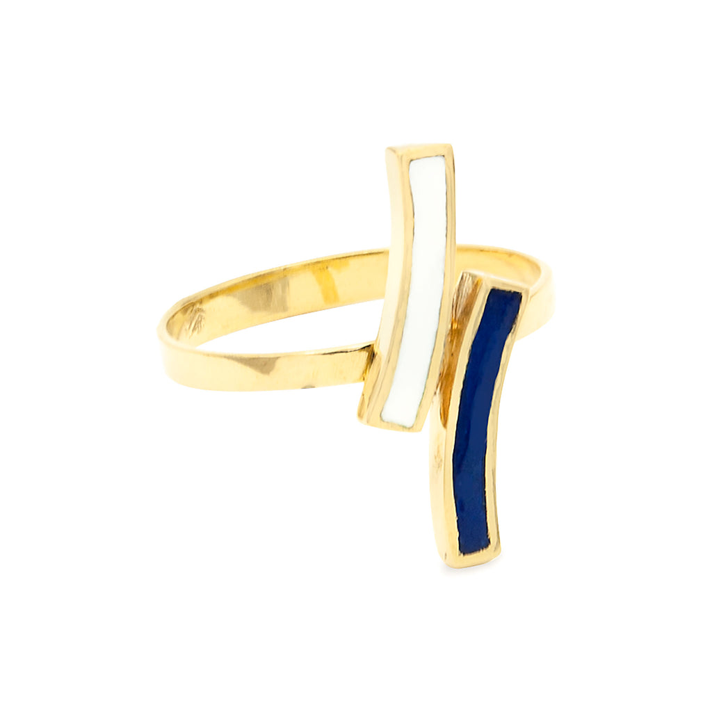 14 Karat Yellow Gold Vintage French Enameled Blue & White Midcentury Modern Ring