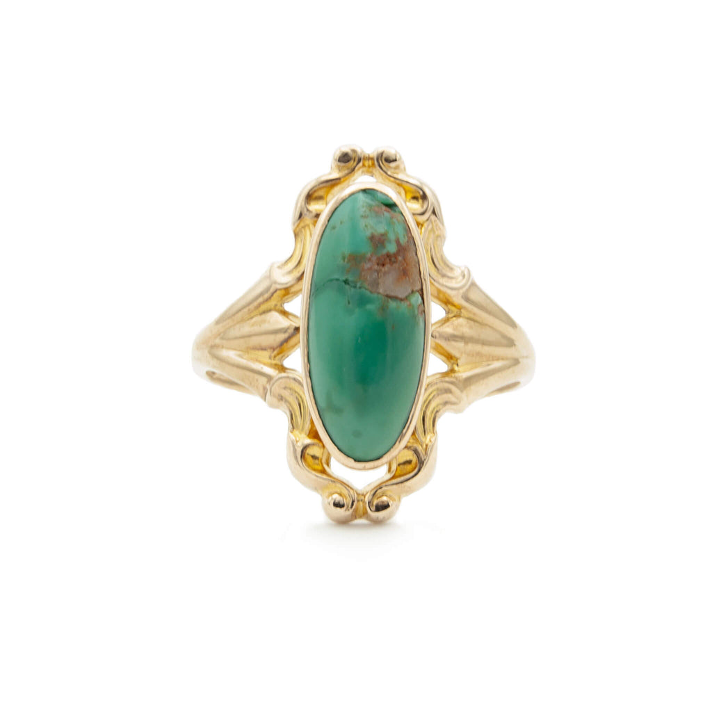 Antique 14 Karat Yellow Gold Oval Persian Turquoise Ring