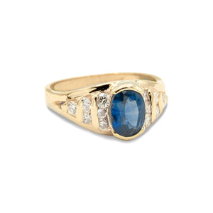 14 Karat Natural Oval Blue Sapphire Ring with Brilliant Cut Diamonds