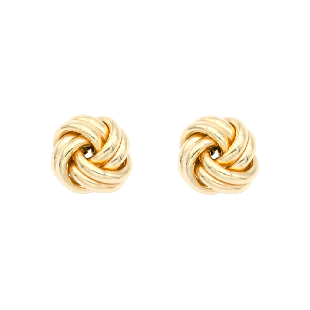 14 Karat Yellow Gold Lovers Knot Stud Earrings