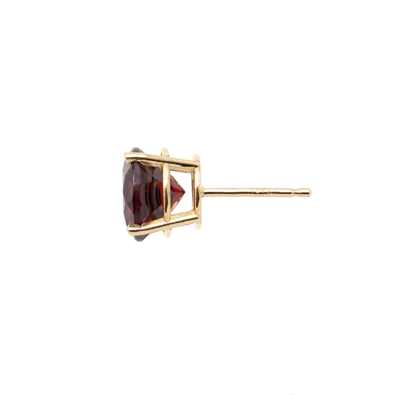 14 Karat Yellow Gold Round Natural Garnet Stud Earrings