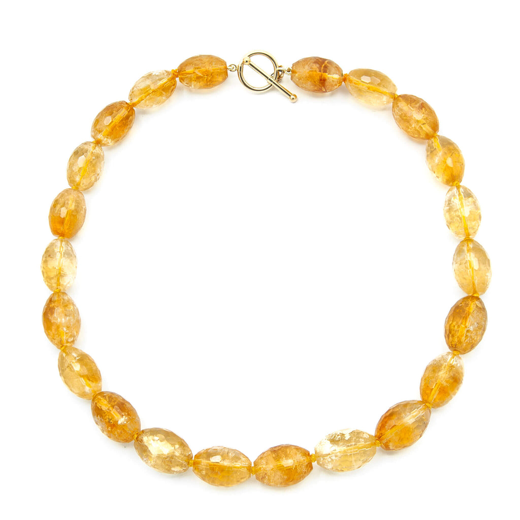 18 Inch Faceted Oval Golden Citrine Necklace