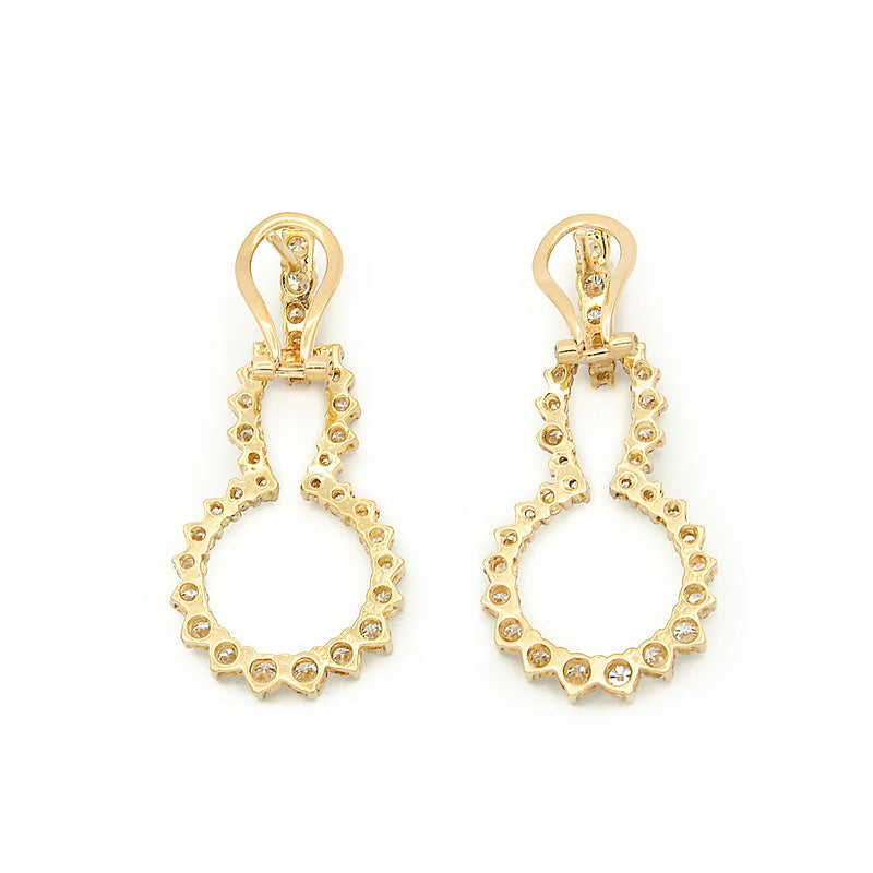 18 Karat Yellow Gold Door Knocker Style Diamond Earrings of Best Quality