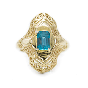 Indicolite Tourmaline Filigree Ring