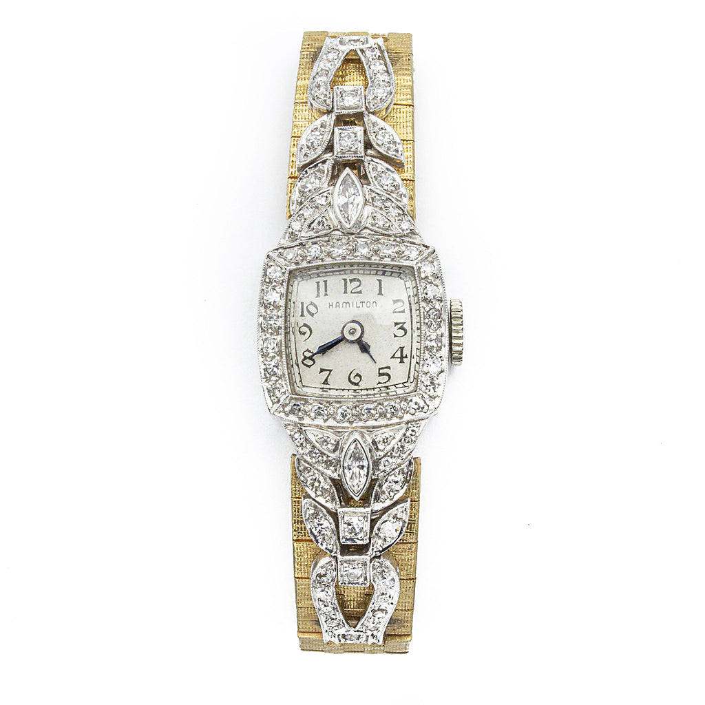 Antique Hamilton Platinum and Diamond Watch