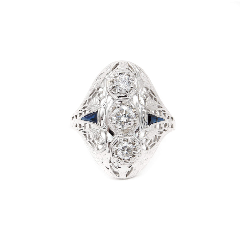 Art Deco 14 Karat White Gold Diamond and French Cut Sapphire Ring