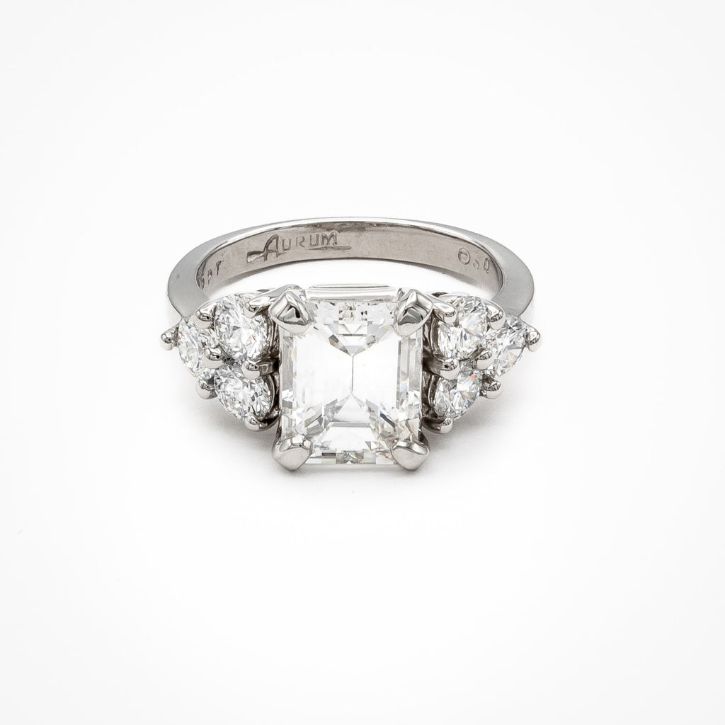 Platinum Emerald Cut Diamond Ring