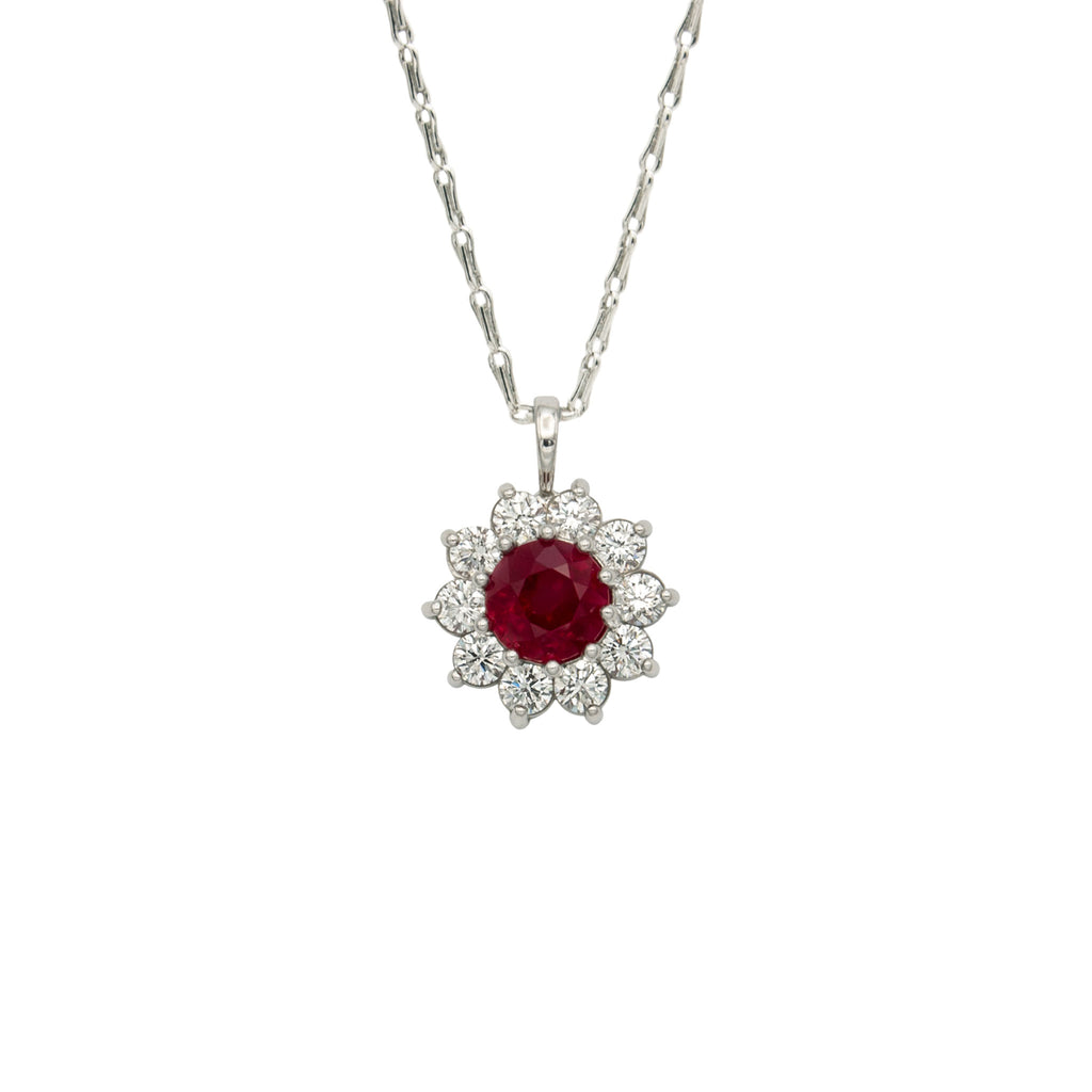 Handmade Platinum Pendant with Finest Diamond Cut Burma Ruby (GIA Certified) and Finest Brilliant Cut Diamonds