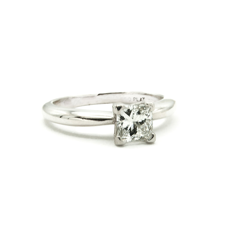 Handmade Platinum Solitaire Ring Prong Set with a Fine GIA Certified D-VS1 Princess Cut Natural Mined Diamond Weighing 68/100 Carat