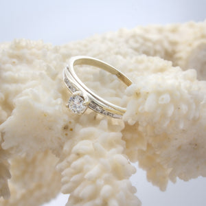 Delicate Diamond Solitaire with Diamond Shoulders