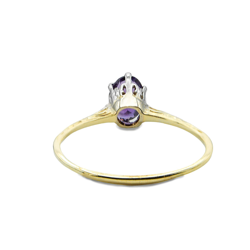 Engraved Vintage Victorian 14 Yellow and White Gold Ring with Prong Set Amethyst