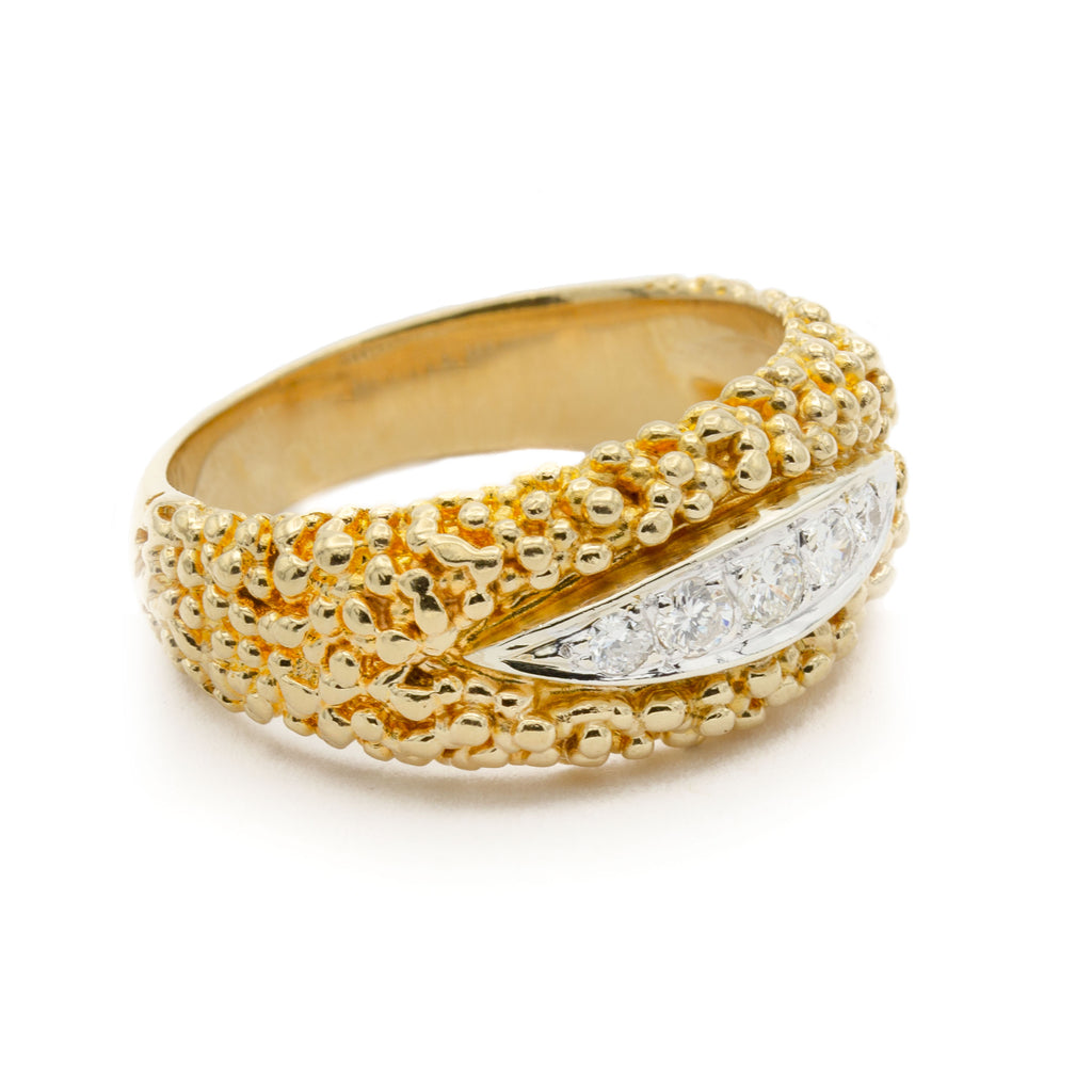 14 Karat Yellow Gold Granulated Band Ring with White Gold Center Set with Five Brilliant Cut Diamonds