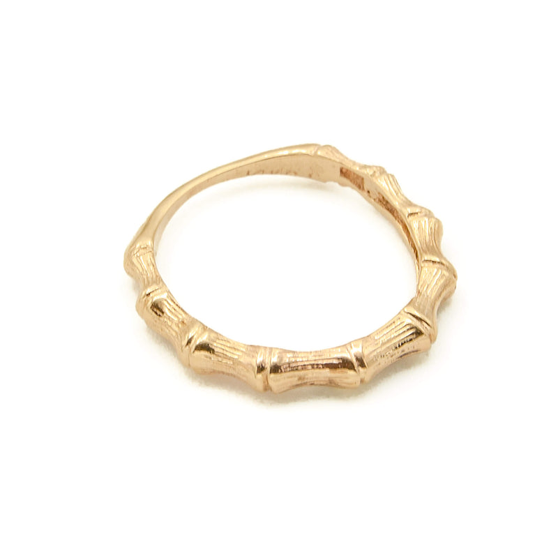 Handmade 14 Karat Yellow Gold Bamboo Wedding or Stacking Ring