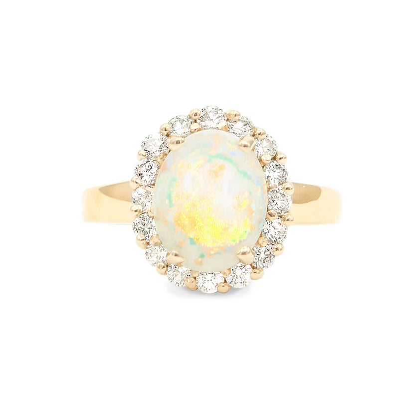 Natural Australian Opal Set in Handmade 14 Karat Yellow Gold with Halo of Finest Brilliant Cut Diamonds