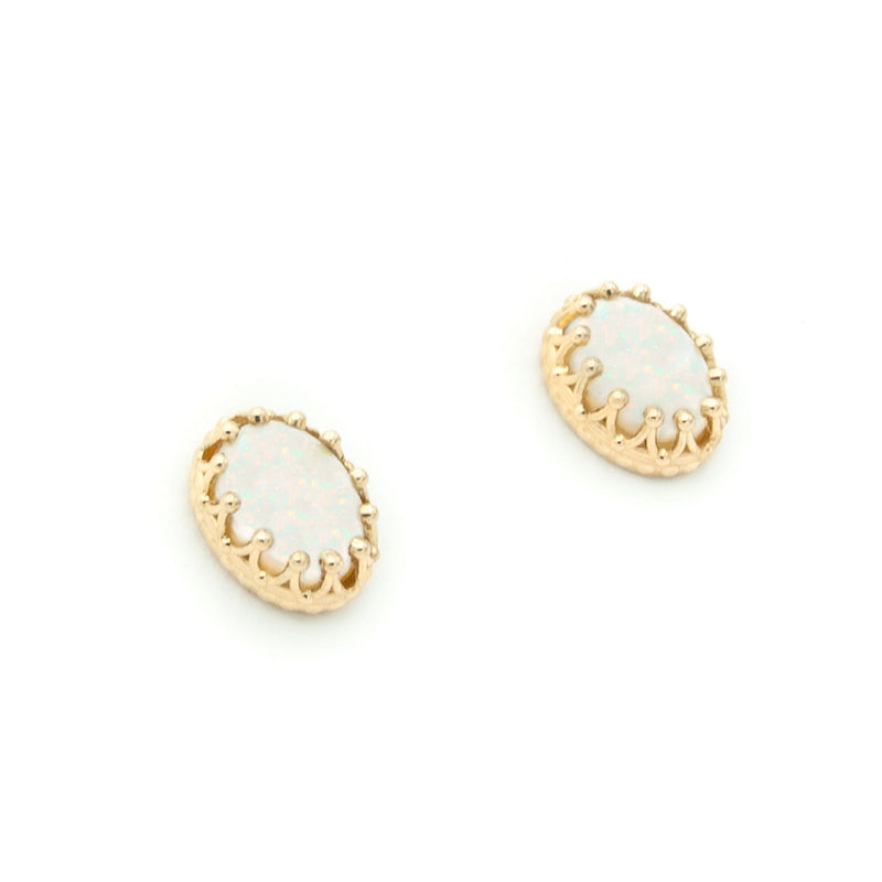 14 Karat Yellow Gold and Fine Natural Oval Australian Opal Stud Earrings