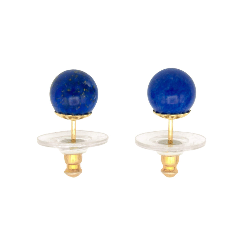 Natural Round Lapis Lazuli Stud Earrings