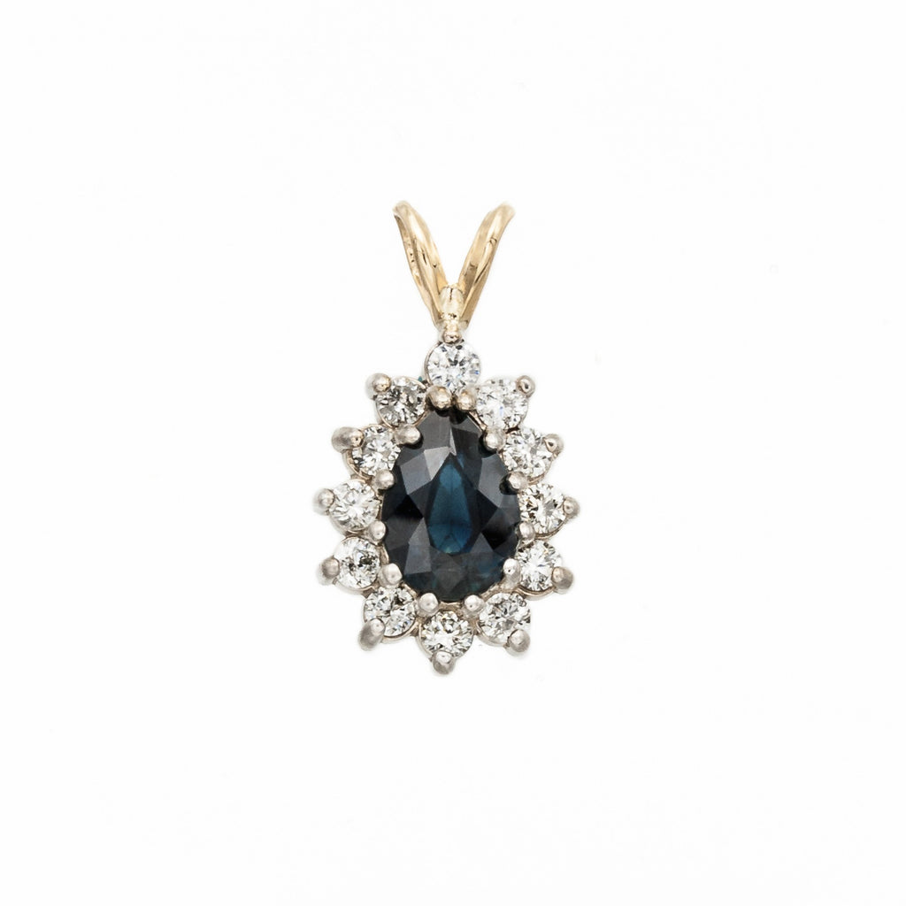 Pear Sapphire and Diamond Pendant