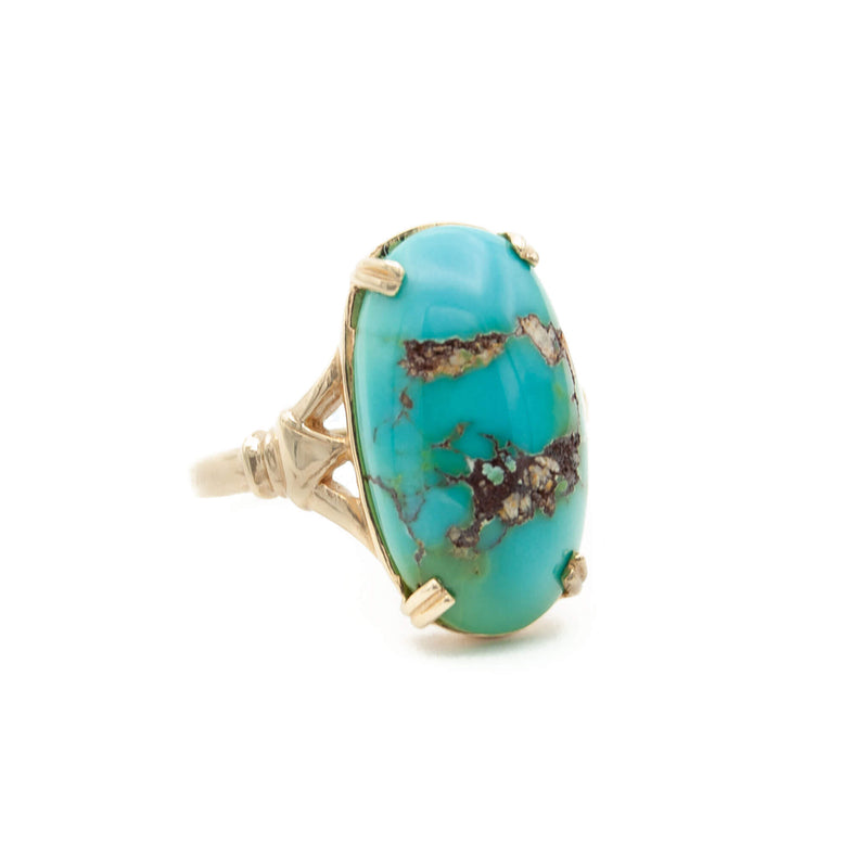 Handmade 14 Karat Yellow Gold Ring set with Fine Natural Oval Persian Turquoise