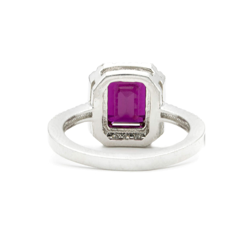 Handmade Platinum Ring with Emerald Cut Ruby and Diamonds