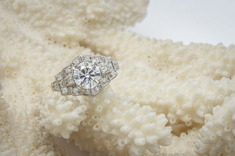 Platinum Deco Diamond Ring