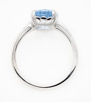 Oval Sky Blue Topaz Solitaire Ring