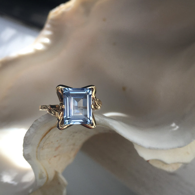 Step-Cut Aquamarine Ring