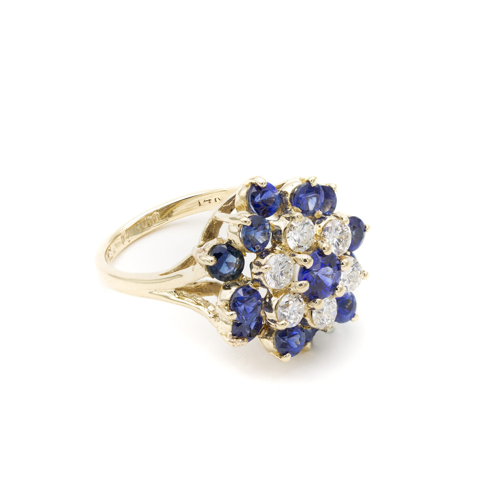 Vintage 14 Karat Yellow Gold Alternative Engagement or Cocktail Double Halo Princess Ring of Diamond Cut Natural Blue Sapphires and Diamonds