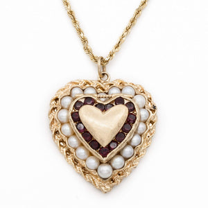 Vintage 14 Karat Yellow Gold Garnet and Pearl Heart Locket