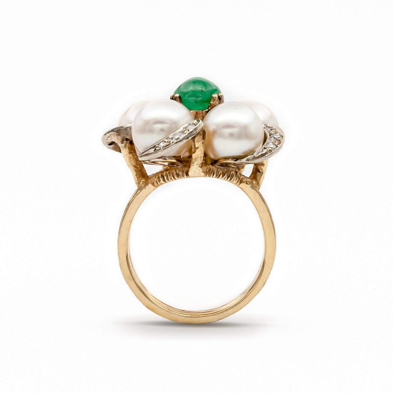 Emerald, Pearl, and Diamond Ring