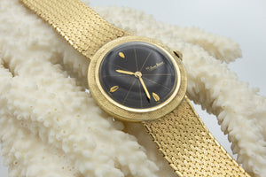 Lucien Piccard Gold Watch with Round Black Dial