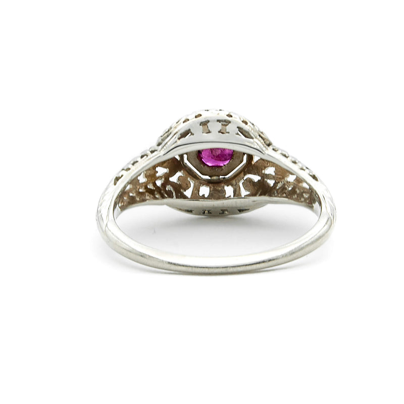 Antique 18 Karat White Gold Filigree Art Deco Ruby Engagement Ring