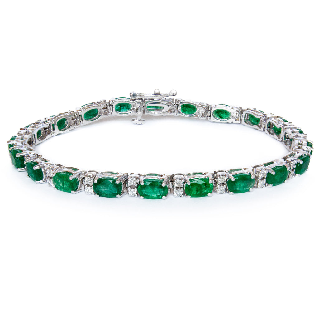 Classic 14 Karat White Gold Line Bracelet Prong Set with Alternating Natural Oval Faceted Emeralds and Fine Brilliant Cut Diamonds