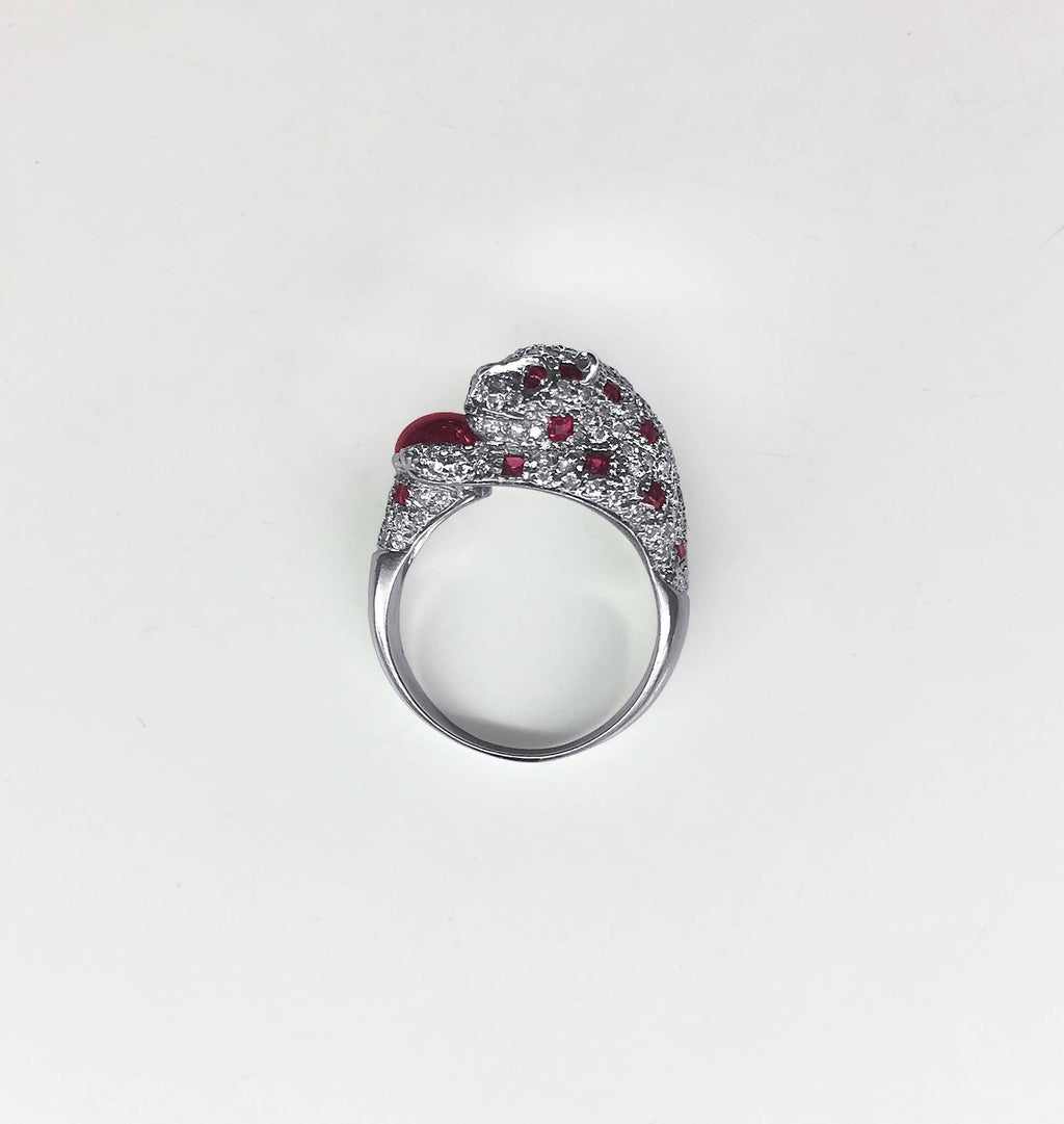 Diamond and Ruby Panther Ring