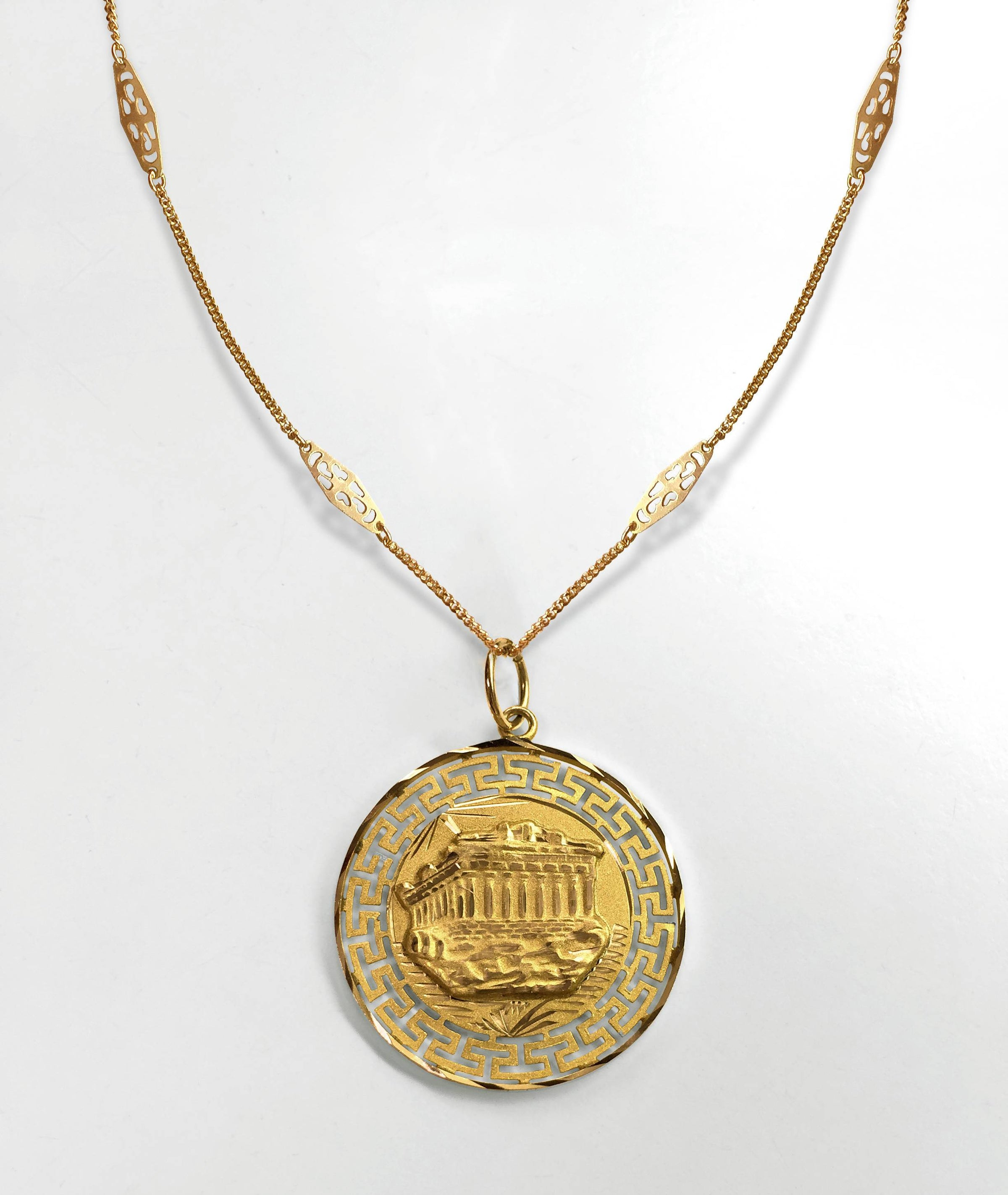 Gifts Ideas The Motif Divine Necklace Greek Necklace Anniversary Gifts Ancient Jewelry Gold Coin Necklace Pamela Card 24K Gold Plated