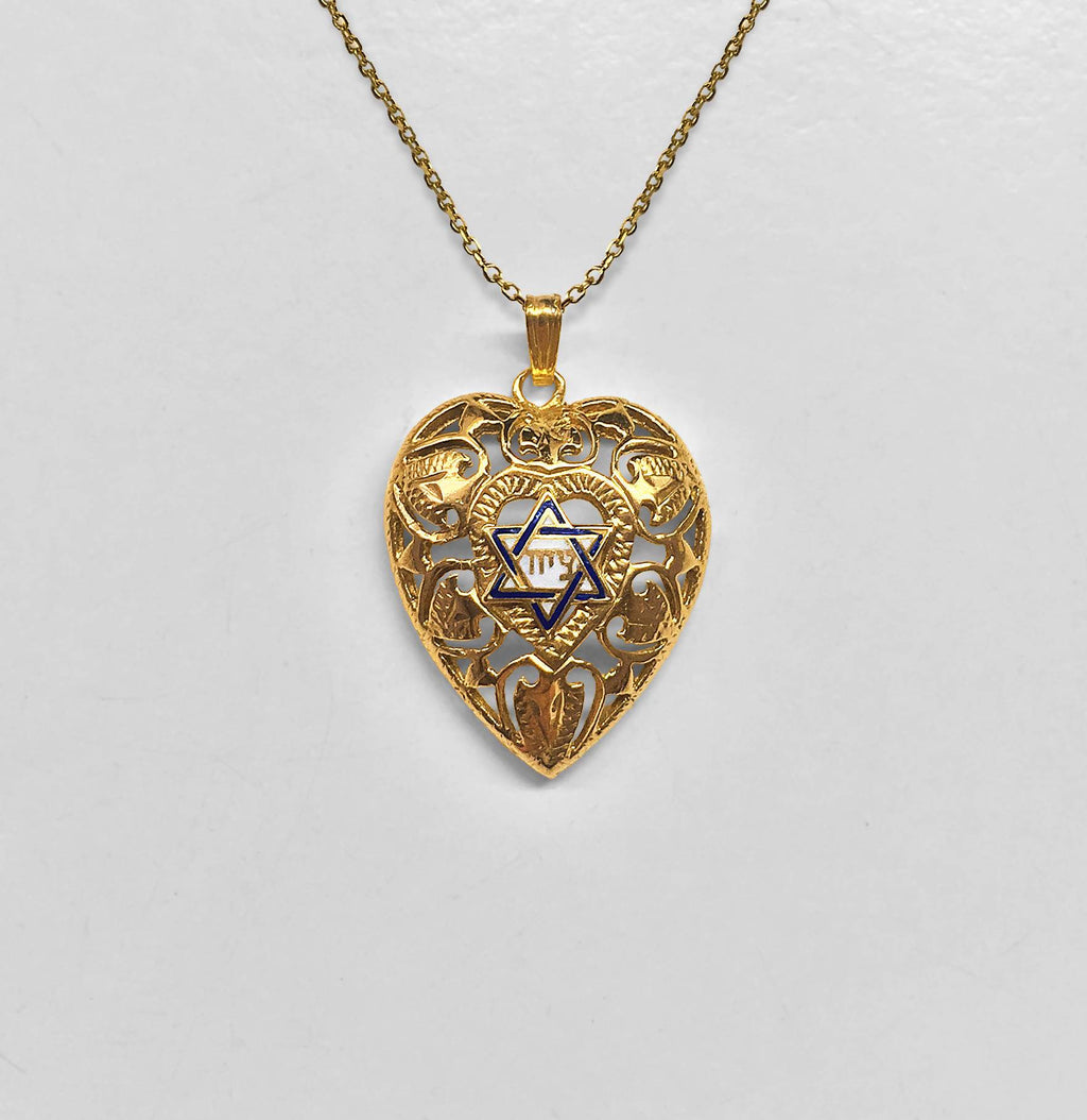 Heart-Shaped Pendant with Enameled Star of David