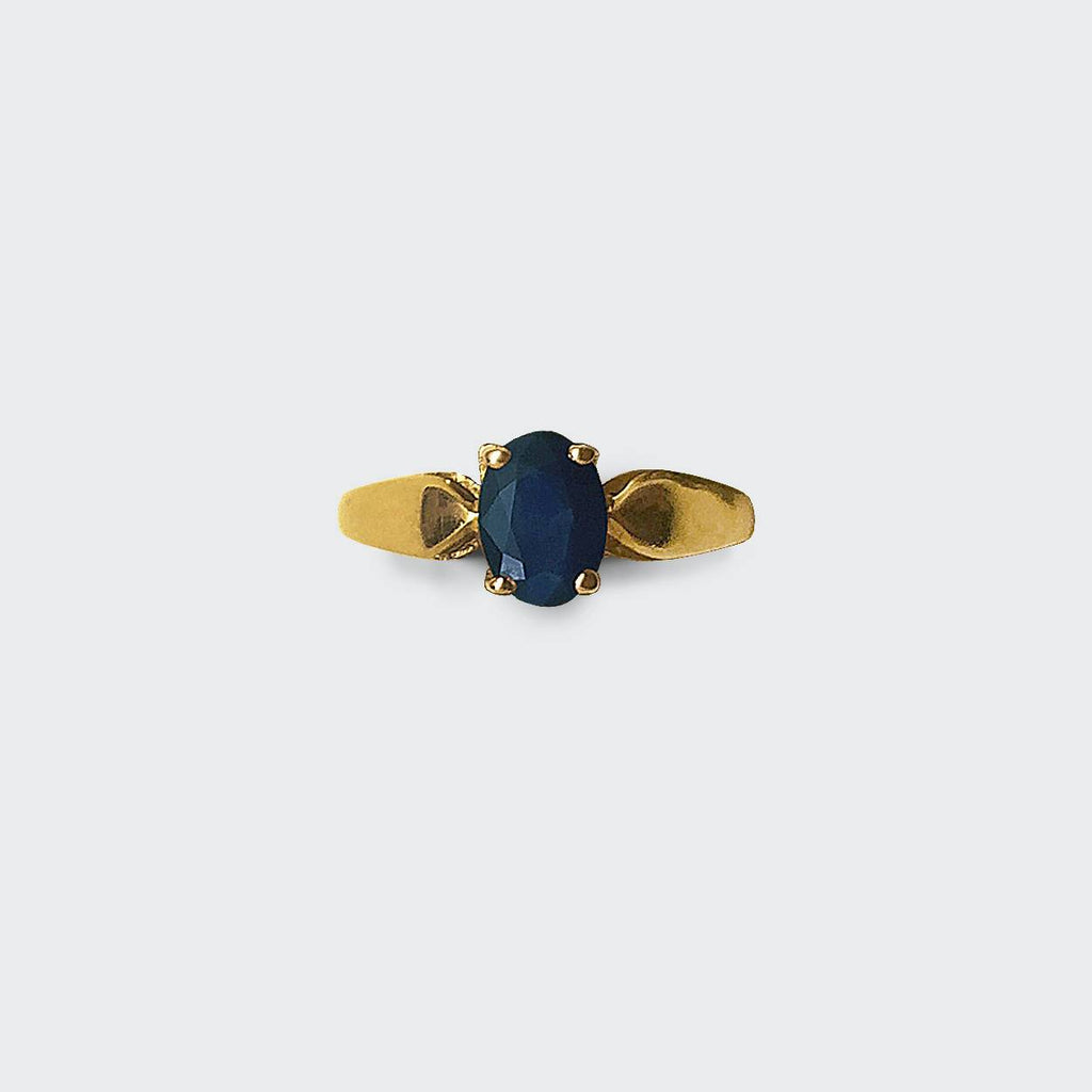 Dark Blue Oval Sapphire Solitaire Ring