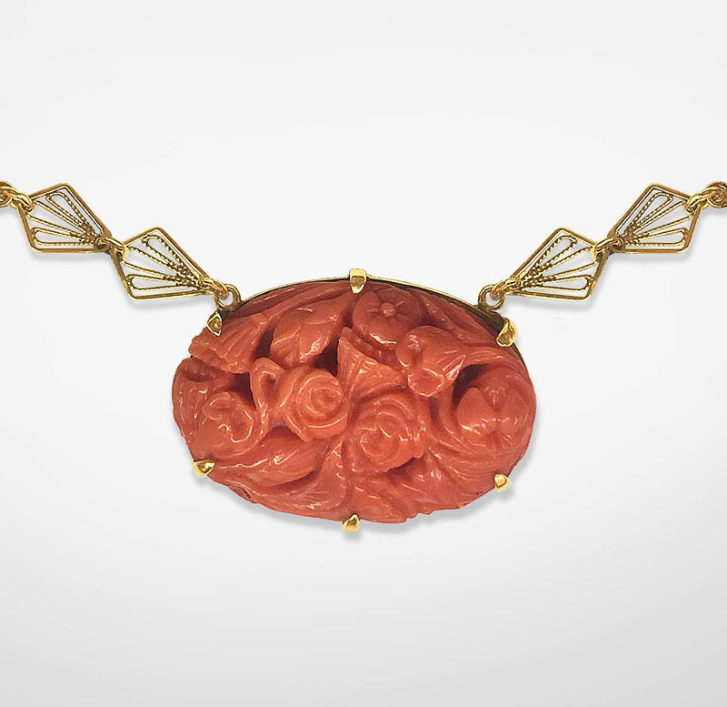 Carved Italian Coral Necklace