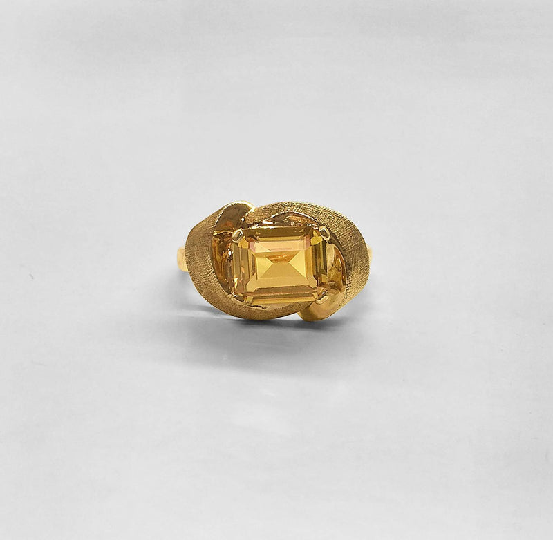 Horizontal Set Golden Citrine Ring