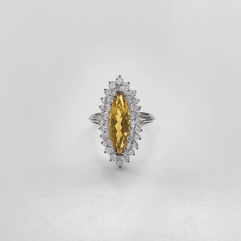 Elongated Marquise Citrine and Diamond Halo Ring
